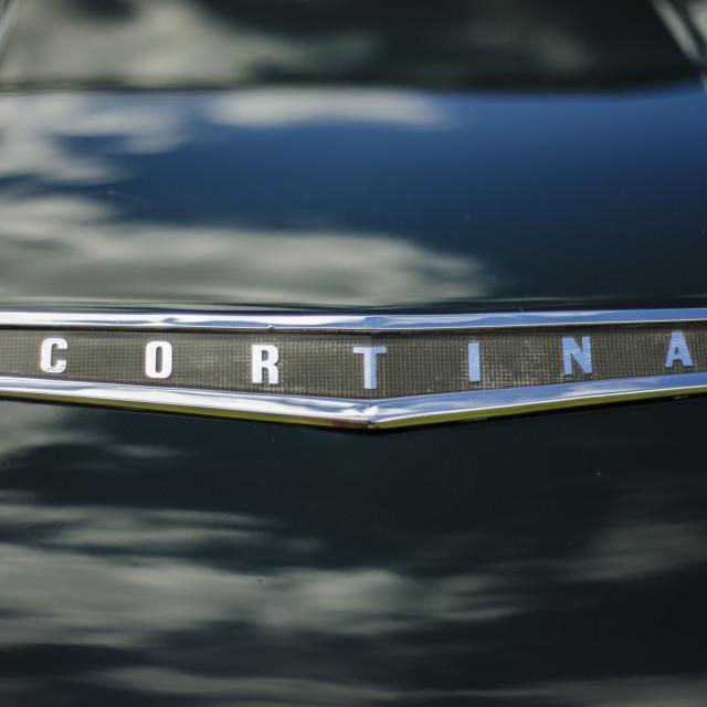 """Ford Cortina Bonnet Close Up"" stock image"