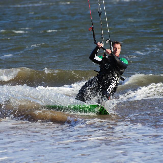 """Kitesurfing at Exmouth"" stock image"
