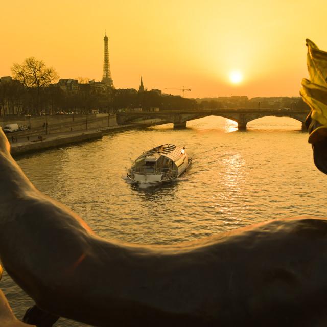 """Eiffel Tower since Alexandre III Bridge in Paris, France"" stock image"