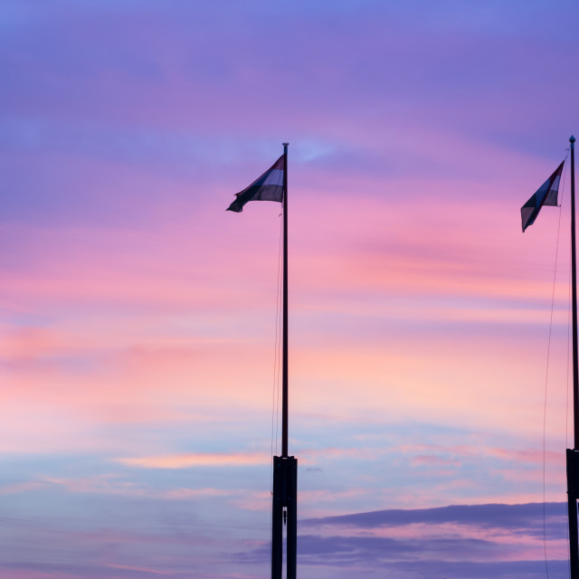 """""""Flags at Sunset"""" stock image"""