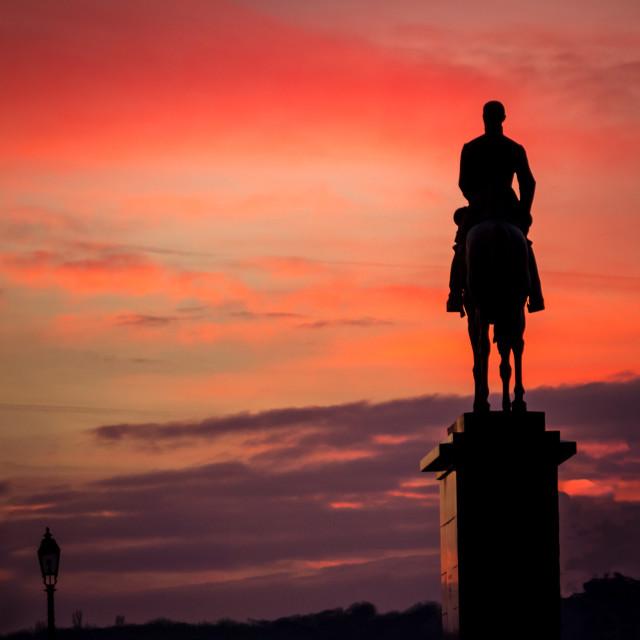 """General on Horseback at Sunset"" stock image"