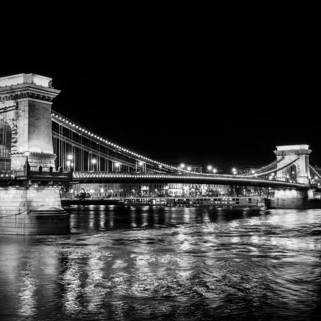 """Chain Bridge at Night (monochrome)"" stock image"