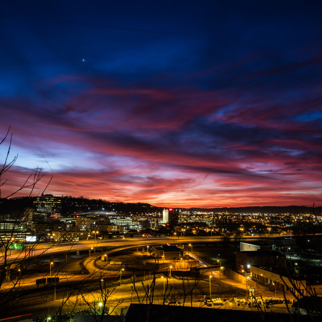 """""""Sunset Over Town"""" stock image"""