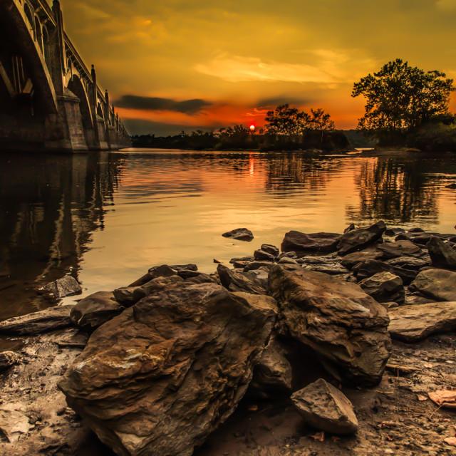 """Bridge into Sunset"" stock image"