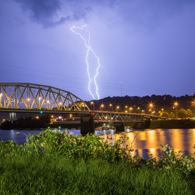 """Lightning Over The Kanawha River"" stock image"