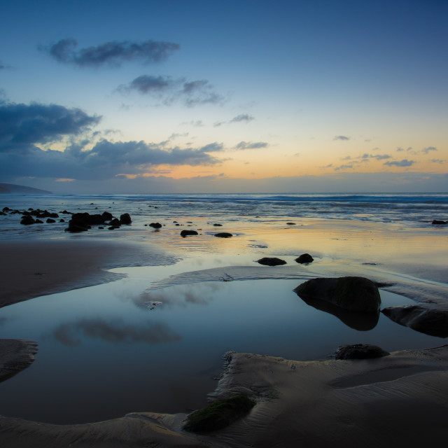 """Amroth Beach, Pre Dawn."" stock image"