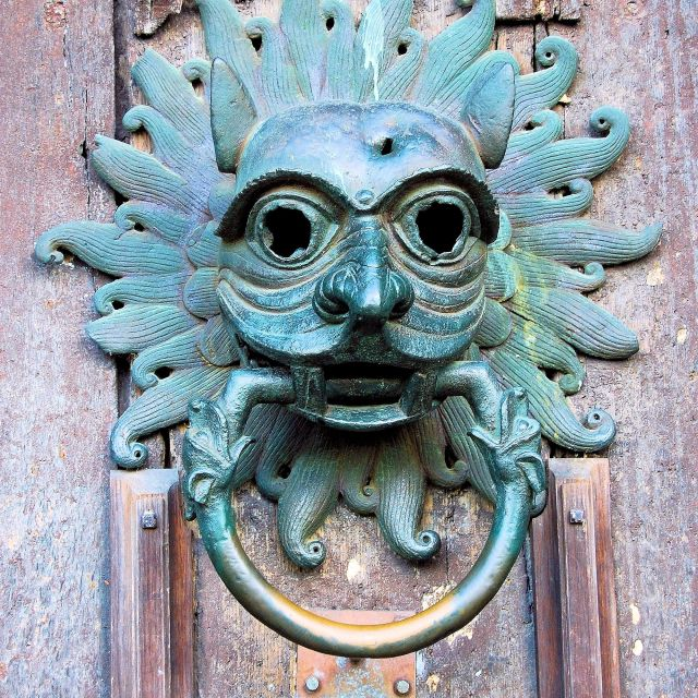 """Sanctuary door knocker, North Door, Durham Cathedral"" stock image"