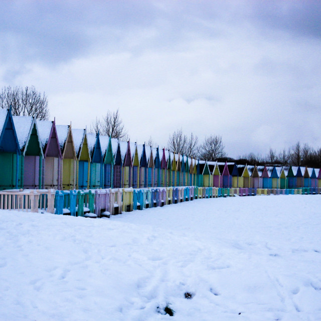"""Beachhuts in the snow"" stock image"