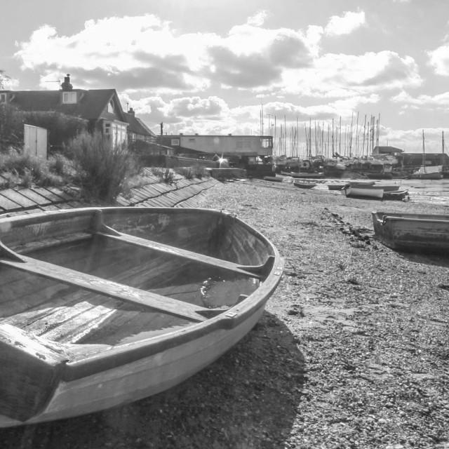 """Dinghy's ashore"" stock image"