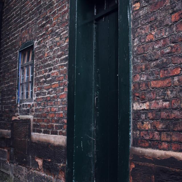 """Green door and brick wall"" stock image"