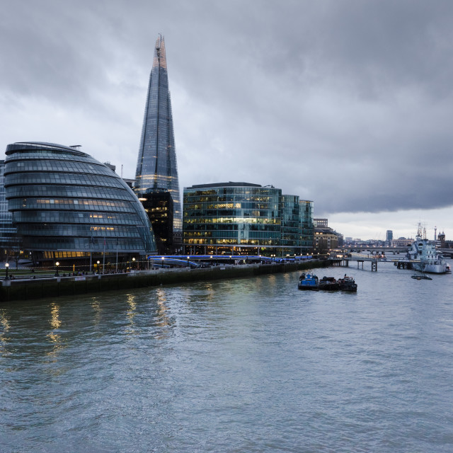 """Menacing sky behind The Shard"" stock image"
