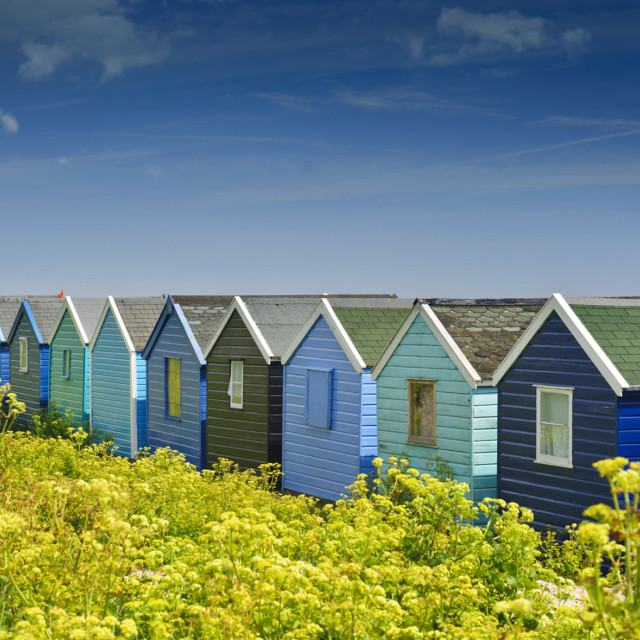 """Beach huts in Springtime"" stock image"