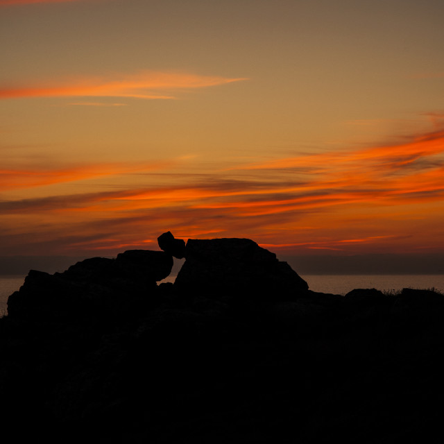"""Sunset at Zennor Head, Cornwall"" stock image"