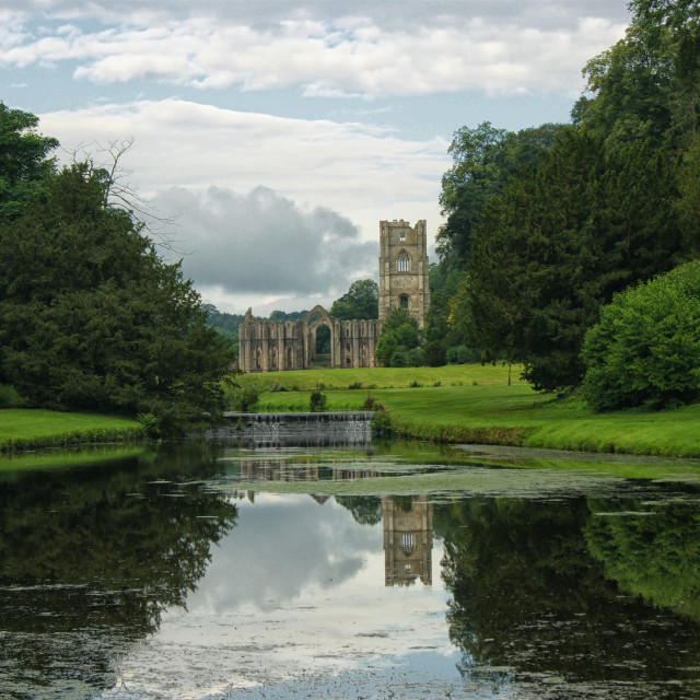 """Fountains Abbey Reflection"" stock image"