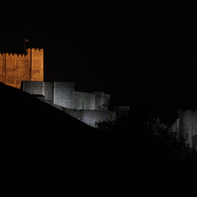 """Dover Castle at night"" stock image"