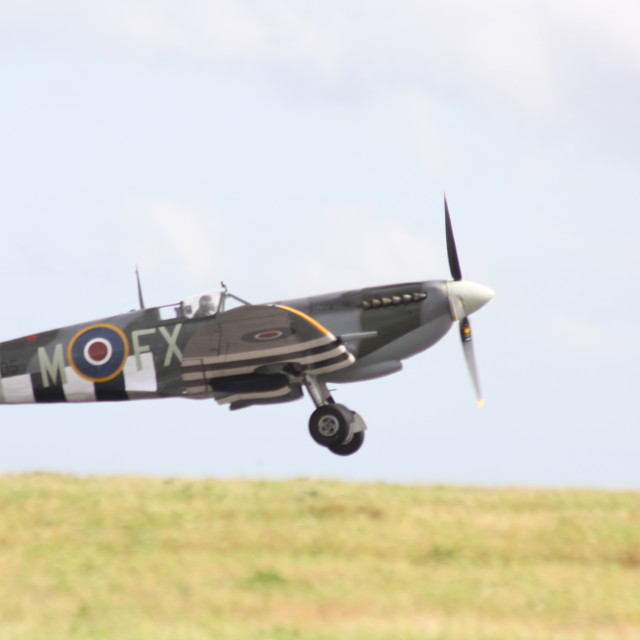 """Spitfire on a takeoff run"" stock image"