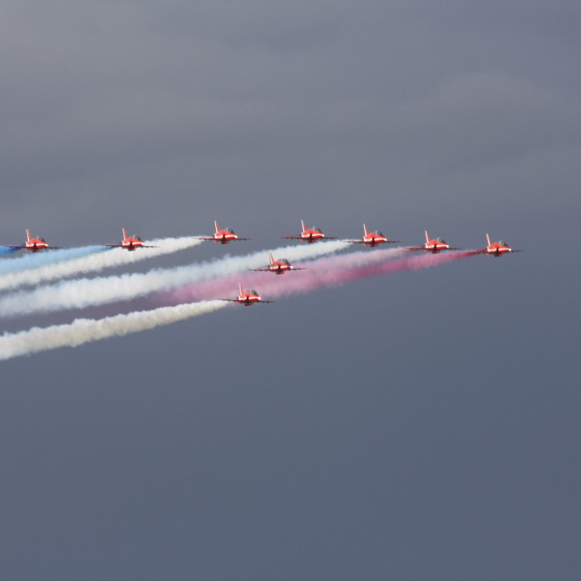 """Red Arrows smoke on"" stock image"