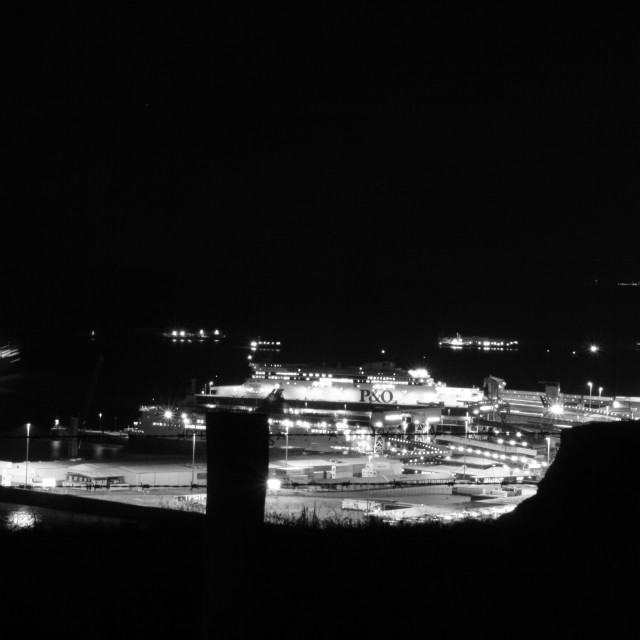 """Dover Harbour in Black and White"" stock image"