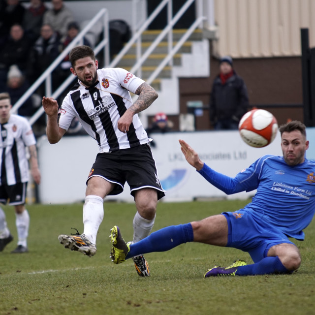 """Spennymoor Town FC v Clitheroe FC Football Action"" stock image"