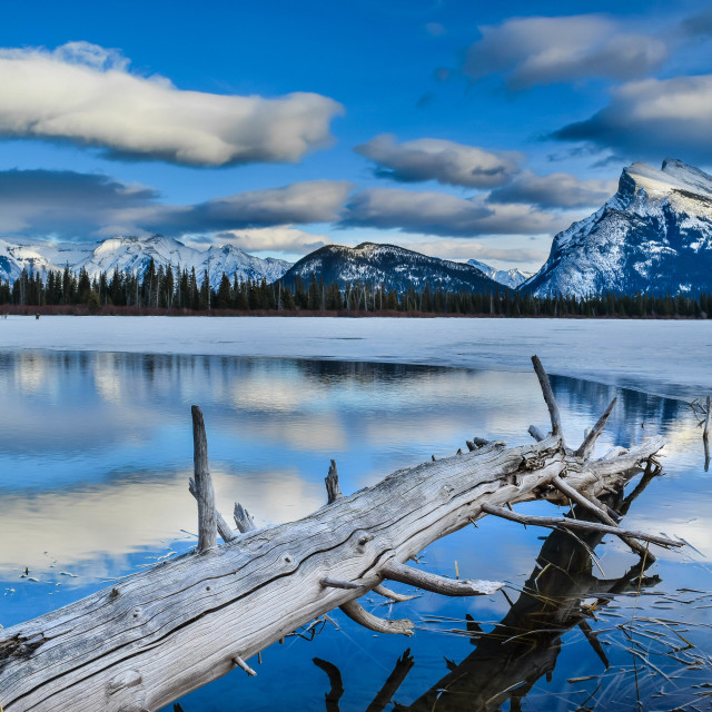 """Blue skies at Vermillion Lakes"" stock image"