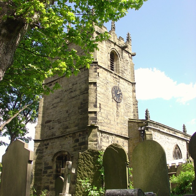 """St Edmund's, Castleton - a fine Derbyshire church"" stock image"