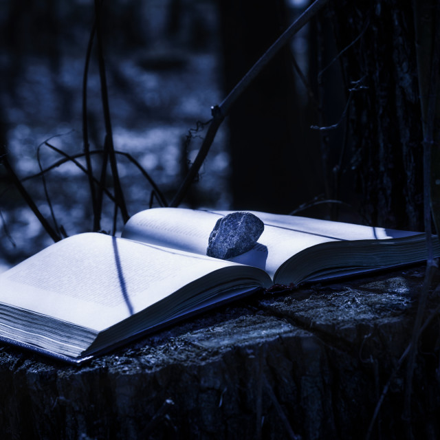 """Mysterious Book at Night"" stock image"