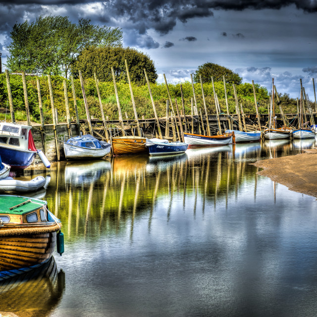 """""""Army of Boats at Blakeney Quay"""" stock image"""