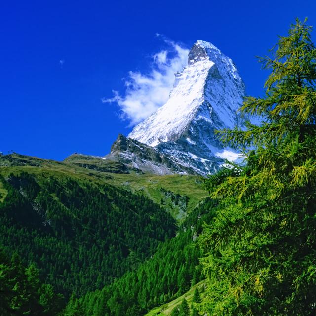 """Snowy Peak of Matterhorn"" stock image"