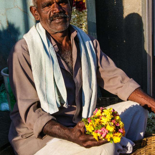 """""""Flower seller."""" stock image"""
