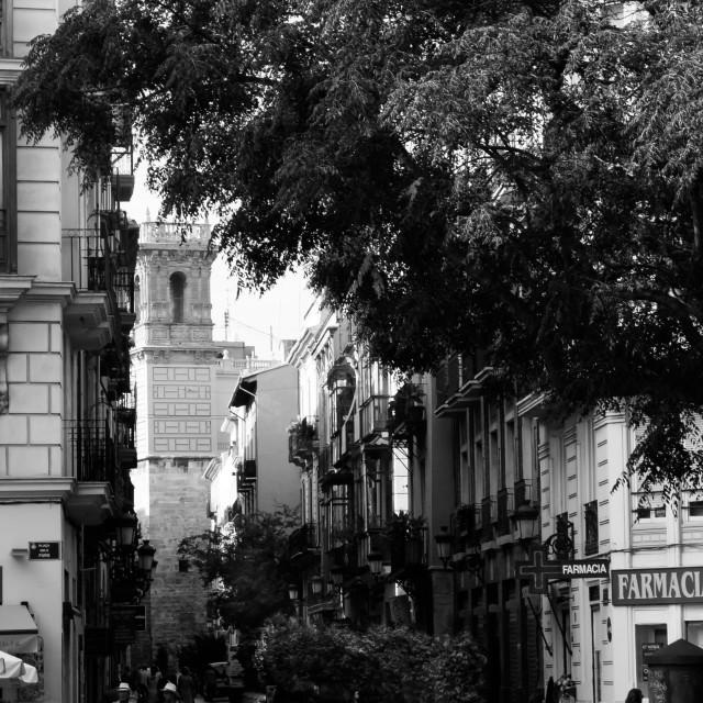 """""""Street Scene, Valencia"""" stock image"""