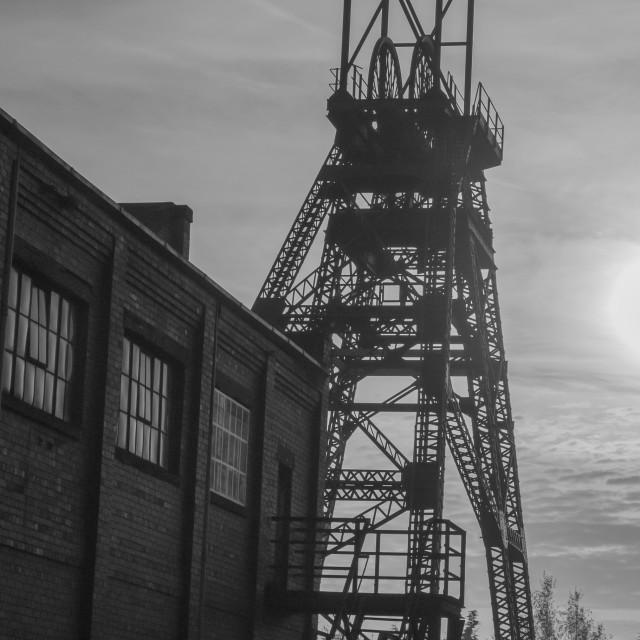"""""""Old Rhostyllen Colliery Winding Gear"""" stock image"""