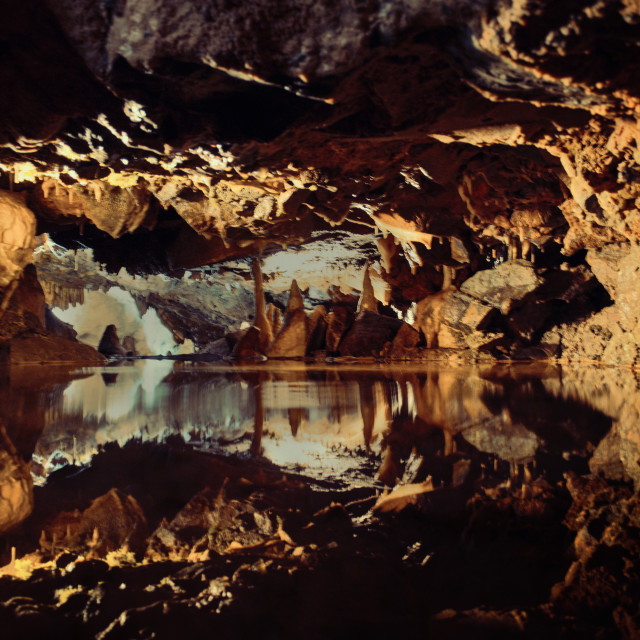 """Gough Cave, Cheddar Gorge"" stock image"