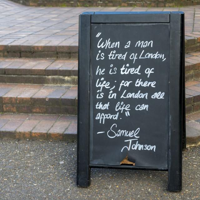 """Samuel Johnson Quote"" stock image"