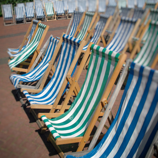 """Rows of Deck Chairs in a London Park"" stock image"