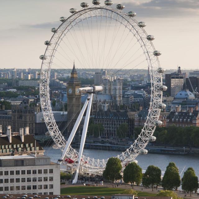 """The London Eye / Millennium Wheel, Looking West, London"" stock image"