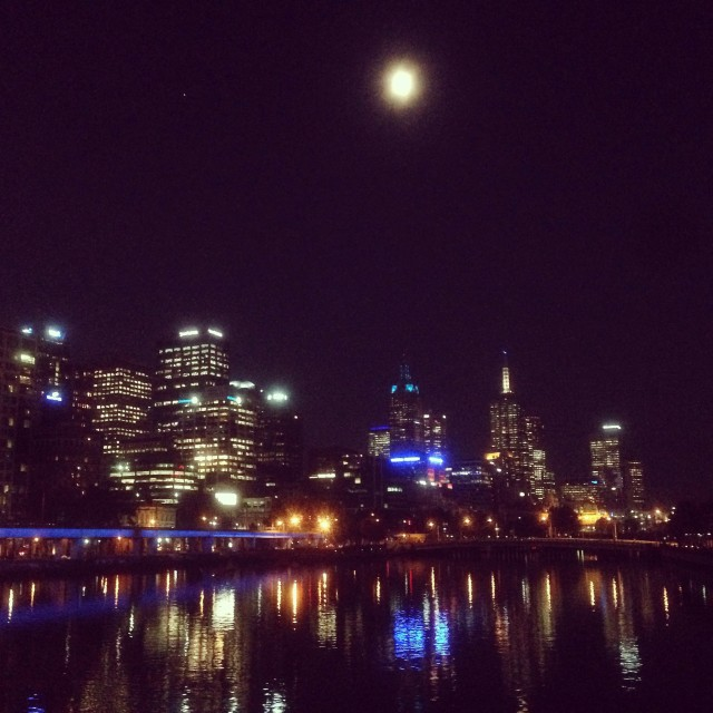 """Melbourne by Night"" stock image"