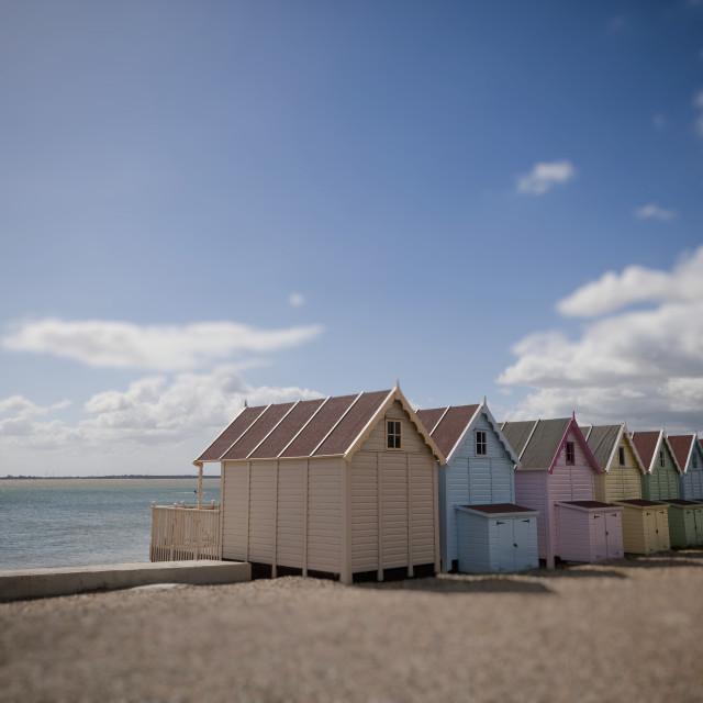 """Beach Huts, Mersea Island"" stock image"
