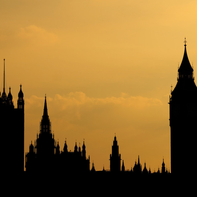 """""""Houses of Parliament in Silhouette"""" stock image"""