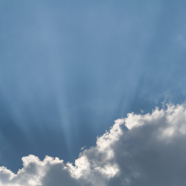 """Cloud and Sunbeams Horizontal"" stock image"