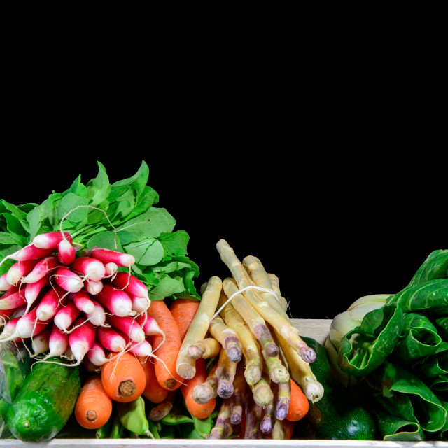 """""""small crate with various seasonal vegetables"""" stock image"""