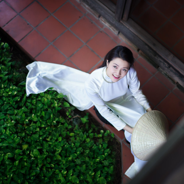 """Vietnamese beautiful women wearing ao dai. Ao dai is famous traditional costume for woman in Vietnam."" stock image"
