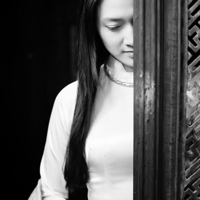 """Portrait of Vietnamese beautiful women wearing ao dai. Ao dai is famous traditional costume for woman in Vietnam."" stock image"