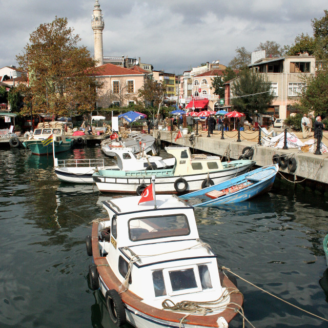 """Boats in Sariyer Harbour, Bosphorus, Turkey"" stock image"