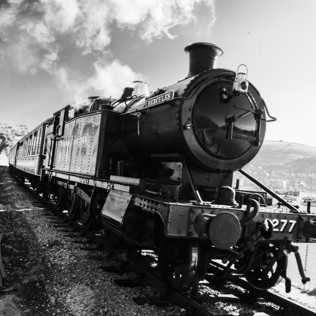 """Steam Locomotive Hercules on the Dartmouth Steam Railway"" stock image"