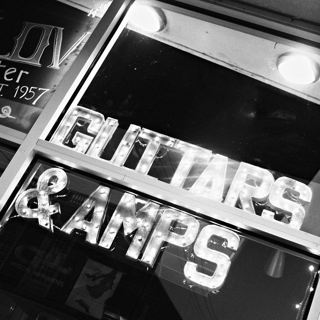 """Guitars & Amps"" stock image"