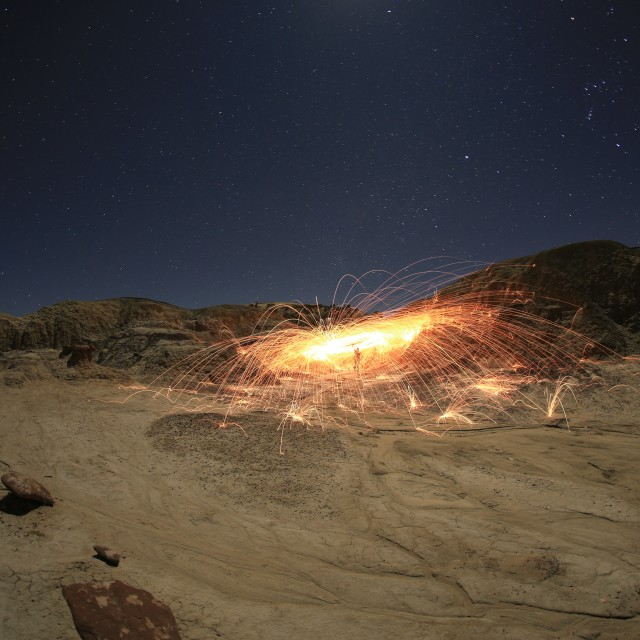 """Sparks and Stars in the badlands"" stock image"