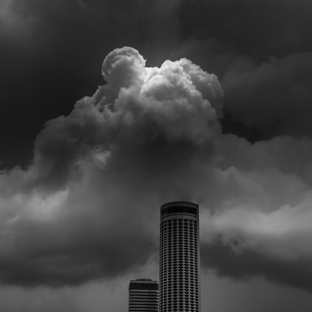 """Storm over Raffles City"" stock image"