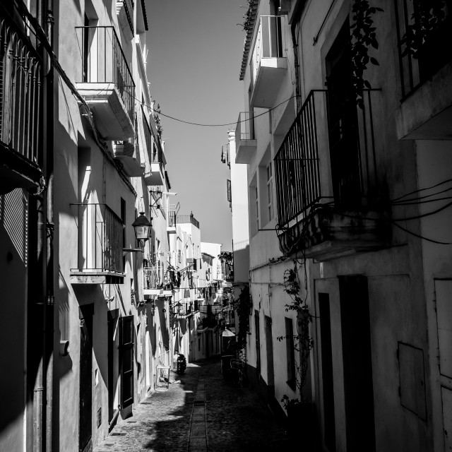 """Sidestreet in Ibiza Town"" stock image"