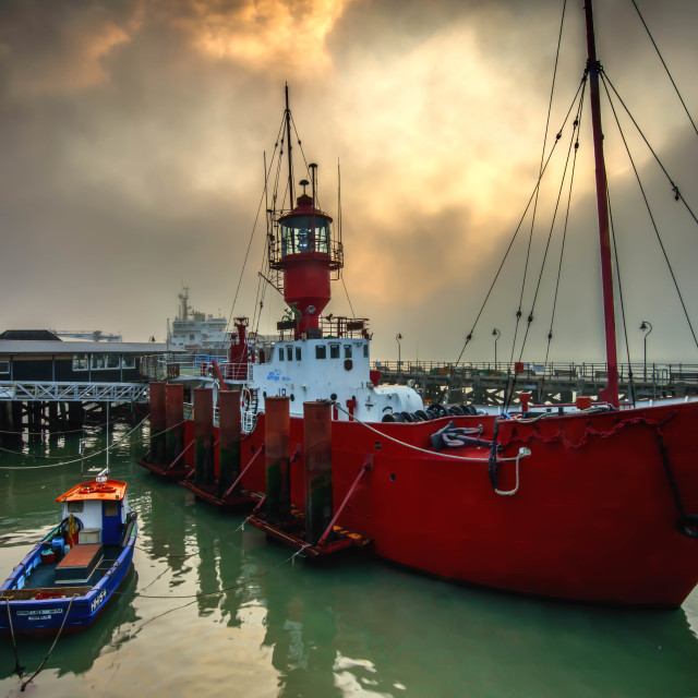 """Harwich Foggy Lightship"" stock image"