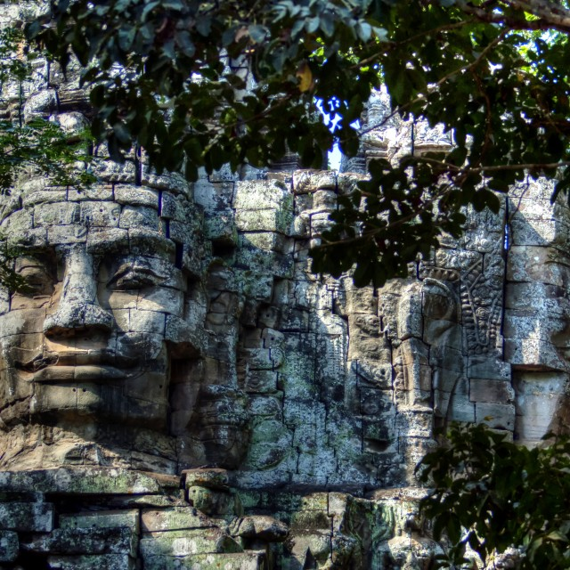 """Stone Faces Angkor Watt"" stock image"